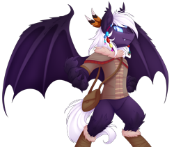 Size: 4500x3792 | Tagged: source needed, safe, artist:scarlet-spectrum, oc, oc only, oc:calla blossom, anthro, bat pony, original species, timber pony, timber wolf, unguligrade anthro, claws, high res, leg fluff, male, solo, species swap, tribal, wing claws
