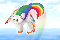 Size: 1918x1299 | Tagged: safe, artist:rainbow eevee, oc, oc only, oc:irene iridium, object pony, original species, pegasus, pony, beautiful, colored hooves, colored wings, colorful, cute, cutie mark, element pony, female, fire, flying, gift art, gradient wings, looking down, multicolored hair, not rainbow dash, ocbetes, ocean, ponified, rainbow, rainbow hair, sky, smiling, solo, spread wings, weapons-grade cute, wings