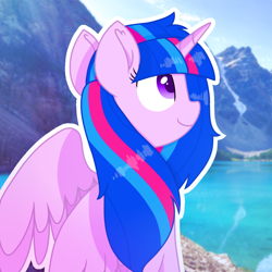 Size: 1150x1150 | Tagged: safe, artist:rainbow eevee, oc, oc only, oc:vesty sparkle, alicorn, pony, beautiful, cute, female, icon, irl, lake, mountain, nature, not twilight sparkle, offspring, parent:flash sentry, parent:twilight sparkle, parents:flashlight, photo, smiling, solo