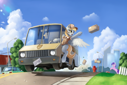 Size: 3048x2052 | Tagged: safe, artist:pony-way, amethyst star, derpy hooves, sparkler, pegasus, unicorn, box, car, city, clothes, delivery, driving, female, food, frog (hoof), grand theft auto, gta v, lawn mower, mail, mailbox, muffin, parcel, throwing, underhoof, van