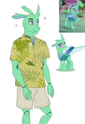 Size: 1751x2550 | Tagged: safe, artist:askbubblelee, kevin (changeling), soupling, anthro, changedling, changeling, clothes, digital art, male, no tail, shirt, shorts, simple background, smiling, solo