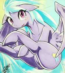Size: 1801x2048 | Tagged: safe, artist:025aki, cloudchaser, pegasus, pony, blushing, female, flying, looking at you, mare, signature, smiling, solo, spread wings, traditional art, wings