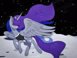 Size: 2048x1536 | Tagged: safe, artist:incendiaryboobs, maud pie, princess luna, pony, clothes, fusion, moon, shirt, solo