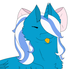 Size: 1024x904 | Tagged: safe, artist:valley-of-roses, oc, oc:fleurbelle, alicorn, adorable face, alicorn oc, bow, cheek fluff, chest fluff, cute, ear fluff, female, hair bow, hair over one eye, mare, simple background, tongue out, transparent background