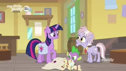Size: 1920x1080   Tagged: safe, screencap, dusty pages, spike, twilight sparkle, alicorn, dragon, pony, the point of no return, spoiler:s09e05, bag, barrel, mail, saddle bag, twilight sparkle (alicorn), winged spike