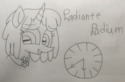 Size: 2994x1965 | Tagged: safe, artist:徐詩珮, oc, oc only, oc:radiante radium, object pony, original species, pony, unicorn, bust, cute, element pony, female, mare, monochrome, ocbetes, ponified, smiling, solo, traditional art