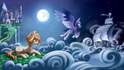 Size: 5000x2812 | Tagged: safe, artist:lunebat, oc, oc only, oc:crystal wishes, oc:silent knight, pegasus, pony, unicorn, canterlot, canterlot castle, cloud, detailed background, fanfic art, female, flying, grass, guard, lying, male, mare, moon, night, scenery, ship, stallion