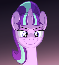 Size: 1240x1375 | Tagged: safe, artist:culu-bluebeaver, starlight glimmer, pony, unicorn, comic:the newcomer, female, s5 starlight, simple background, smiling, solo, solo female