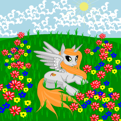 Size: 900x900 | Tagged: safe, artist:anonymous, oc, oc only, oc:ginger peach, alicorn, pony, /mlp/, alicorn oc, butt, cloud, cute, drawthread, female, field, flower, grass, grass field, laying on side, mare, ocbetes, plot, sky, solo, sun, wings