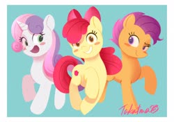 Size: 2048x1444 | Tagged: safe, artist:gamorangetana, apple bloom, scootaloo, sweetie belle, earth pony, pegasus, pony, unicorn, adorabloom, blushing, cute, cutealoo, cutie mark crusaders, diasweetes, female, filly