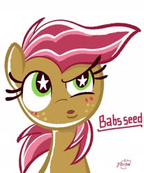 Size: 1701x2041 | Tagged: safe, artist:garammasara, babs seed, female, filly, simple background, solo, starry eyes, white background, wingding eyes