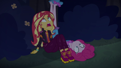 Size: 1920x1080   Tagged: safe, screencap, pinkie pie, sunset shimmer, equestria girls, equestria girls series, sunset's backstage pass!, spoiler:eqg series (season 2)