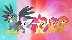 Size: 5360x3008 | Tagged: safe, artist:andoanimalia, apple bloom, babs seed, gabby, scootaloo, sweetie belle, earth pony, griffon, pegasus, pony, cutie mark, cutie mark crusaders, female, filly, the cmc's cutie marks, wallpaper