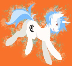 Size: 2048x1868 | Tagged: safe, artist:clair, oc, oc only, oc:clair, oc:clairvoyance, pony, unicorn, blackletter, heart eyes, lineless, lineless art, lineless fullbody, open mouth, orange background, ribbon, simple background, solo, wingding eyes