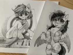 Size: 2048x1536 | Tagged: safe, artist:share dast, oc, oc only, oc:bead trail, oc:black ice, earth pony, pegasus, pony, chest fluff, clothes, headphones, monochrome, photo, socks, striped socks, tongue out, traditional art, turntable