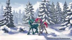 Size: 1280x719 | Tagged: safe, artist:kirillk, oc, oc only, oc:guttatus, oc:zjin-wolfwalker, bat pony, pony, zebra, forest, snow, tree, winter