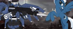 Size: 7000x2800   Tagged: safe, artist:flywheel, night glider, pegasus, spartan, video game crossover, weapon