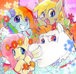 Size: 1328x1292 | Tagged: safe, artist:5mmumm5, derpy hooves, fluttershy, rainbow dash, pegasus, pony, female, male, mare, stallion