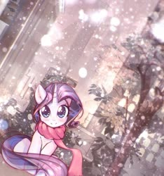 Size: 1177x1255 | Tagged: safe, artist:mirroredsea, rarity, pony, unicorn, blushing, building, city, cityscape, clothes, cute, dutch angle, female, head tilt, horn, looking at you, mare, outdoors, raribetes, scarf, sitting, skyline, smiling, snow, snowfall, solo, tree, winter outfit