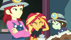 Size: 1920x1080   Tagged: safe, screencap, nolan north, sophisticata, sunset shimmer, all the world's off stage, equestria girls, spoiler:eqg series, clipboard, clothes, ear piercing, earring, exasperated face, eyes closed, facepalm, female, frustrated, helmet, jewelry, male, mining helmet, overalls, piercing, school play, sunset shimmer is not amused, unamused