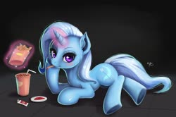 Size: 1024x678 | Tagged: safe, artist:the-park, trixie, pony, unicorn, blushing, coke, eating, female, food, french fries, ketchup, magic, mare, prone, sauce, simple background, soda, solo, telekinesis