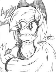 Size: 1024x1320 | Tagged: safe, artist:petanoprime, earth pony, pony, bust, chest fluff, eye clipping through hair, female, freckles, grayscale, hat, mare, monochrome, signature, solo, straw in mouth, text, traditional art