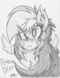 Size: 2550x3300 | Tagged: safe, artist:petanoprime, rainbow dash, pegasus, pony, bandage, bust, chest fluff, eye clipping through hair, female, floating wings, frown, grayscale, injured, mare, monochrome, signature, solo, text, traditional art, wings