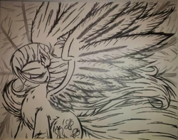 Size: 868x684 | Tagged: safe, artist:petanoprime, fluttershy, pegasus, pony, chest fluff, eyes closed, female, grayscale, mare, monochrome, signature, solo, spread wings, traditional art, wings