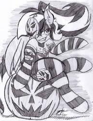 Size: 516x670 | Tagged: safe, artist:petanoprime, oc, oc only, oc:pumpkin prime, pegasus, pony, clothes, freckles, grayscale, grin, halloween, holiday, jack-o-lantern, mask, monochrome, pumpkin, signature, sitting, smiling, socks, solo, striped socks, text, traditional art
