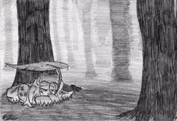 Size: 640x438 | Tagged: safe, artist:petanoprime, fluttershy, pegasus, pony, female, forest, grayscale, leaf umbrella, lilypad, mare, monochrome, outdoors, prone, rain, signature, solo, stray strand, traditional art, tree