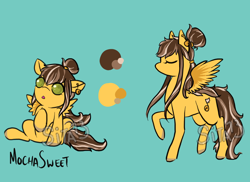 Size: 1100x800 | Tagged: safe, artist:lavvythejackalope, oc, oc only, oc:mocha sweet, pegasus, pony, :o, baby, baby pony, colored hooves, ear piercing, earring, eyes closed, hair bun, jewelry, open mouth, piercing, raised hoof, reference sheet, underhoof