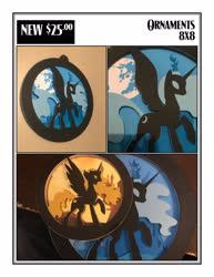 Size: 2550x3300 | Tagged: safe, artist:samoht-lion, daybreaker, nightmare moon, nightmare star, alicorn, bat pony, bat pony alicorn, pony, canterlot, castle, craft, female, full moon, irl, mare, mare in the moon, moon, open mouth, papercraft, photo, raised hoof