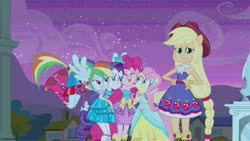 Size: 576x326 | Tagged: safe, screencap, applejack, fluttershy, pinkie pie, rainbow dash, rarity, equestria girls, equestria girls (movie), cute, eyes closed, fall formal outfits, hand on hip, hug, humane five, looking at you, ponied up, tongue out
