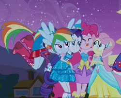 Size: 756x608 | Tagged: safe, screencap, applejack, fluttershy, pinkie pie, rainbow dash, rarity, equestria girls, equestria girls (movie), clothes, cropped, cute, dress, eyes closed, fall formal outfits, female, hug, humane five, ponied up, tongue out