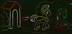 Size: 1024x480   Tagged: safe, artist:quint-t-w, oc, original species, pony, sabertooth pony, unicorn, barrier, booth, border, bush, fangs, gradient background, guard, old art, sharp teeth, teeth, unshorn fetlocks