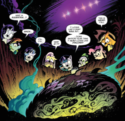 Size: 1262x1216 | Tagged: safe, artist:andypriceart, idw, applejack, discord, fluttershy, pinkie pie, rainbow dash, rarity, spike, starlight glimmer, twilight sparkle, dragon, pony, unicorn, spoiler:comic, spoiler:comic48, chaos theory (arc), crater, cropped, egg, female, male, mane eight, mane seven, mane six, mare, night, official comic, speech bubble, stars, worm's eye view