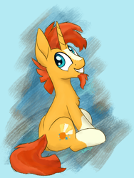 Size: 1500x2000 | Tagged: safe, artist:litrojia, sunburst, pony, unicorn, abstract background, chest fluff, cute, facial hair, goatee, looking at you, male, missing accessory, sitting, smiling, solo, stallion, sunbetes