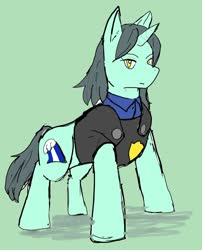 Size: 1000x1237 | Tagged: safe, artist:omegapony16, oc, oc only, oc:oriponi, pony, unicorn, armor, clothes, female, mare, solo, suit