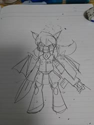 Size: 1080x1440 | Tagged: safe, artist:omegapony16, oc, oc only, bat pony, pony, armor, bat pony oc, female, gun, irl, lineart, lined paper, mare, mask, photo, solo, sword, traditional art, weapon