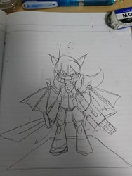 Size: 1080x1440 | Tagged: safe, alternate version, artist:omegapony16, oc, oc only, bat pony, pony, armor, bat pony oc, female, gun, irl, lineart, lined paper, mare, mask, photo, solo, sword, traditional art, weapon