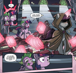 Size: 1262x1222 | Tagged: safe, artist:tonyfleecs, idw, shadow lock, spike, twilight sparkle, alicorn, dragon, pony, unicorn, spoiler:comic, spoiler:comic51, book, cloak, clothes, comic, covered eyes, cropped, female, from the shadows, hood, library, magic, magic aura, male, mare, official comic, priorities, skewed priorities, speech bubble, stallion, telekinesis, that pony sure does love books, twilight sparkle (alicorn), twilight's castle, twilight's castle library