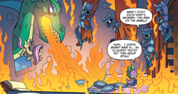Size: 1262x665 | Tagged: safe, artist:tonyfleecs, idw, fluttershy, spike, dragon, pegasus, pony, spoiler:comic, spoiler:comic53, armor, cropped, drapes, female, fire, fire breath, from the shadows, knight, male, mare, official comic, plate armor, shield, speech bubble