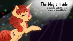 Size: 1280x720 | Tagged: safe, artist:cadetredshirt, oc, oc only, pony, unicorn, crying, ear fluff, eyes closed, glasses, happy, horn, musical instrument, open mouth, piano, redhead, simple background, solo, spotlight, thumbnail