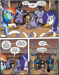 Size: 1175x1504 | Tagged: safe, artist:tonyfleecs, idw, queen cleopatrot, rainbow dash, rarity, anthro, jackal, pegasus, pony, unicorn, spoiler:comic, spoiler:comic53, ancient egypt, comic, cropped, female, from the shadows, mare, official comic, pointing, speech bubble