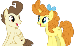 Size: 5563x3435 | Tagged: safe, artist:sketchmcreations, pound cake, pumpkin cake, pegasus, pony, unicorn, the last problem, bow, brother and sister, cake twins, female, hair bow, looking at each other, male, older, older pound cake, older pumpkin cake, siblings, simple background, sitting, smiling, transparent background, twins, vector