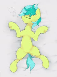 Size: 2048x2732 | Tagged: safe, artist:noupu, sandbar, earth pony, pony, cute, eyes closed, featureless crotch, high res, on back, open mouth, profile, sandabetes, sleeping, solo