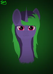 Size: 5000x7000 | Tagged: safe, artist:graphictoxin, oc, oc only, oc:graphic toxin, pony, unicorn, :3, absurd resolution, bust, cute, glowing eyes, lineless, male, minimalist, modern art, portrait, simple background, smiling, solo, vignette