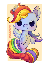 Size: 1024x1366 | Tagged: safe, artist:linvidia, rainbow dash, seapony (g4), abstract background, cute, dashabetes, female, funko, funko pop!, looking at you, seaponified, seapony rainbow dash, solo, species swap, toy, toy interpretation