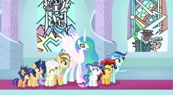 Size: 2348x1284 | Tagged: safe, artist:velveagicsentryyt, cozy glow, lord tirek, princess celestia, princess flurry heart, queen chrysalis, oc, oc:apple pie, oc:destiny, oc:galaxy swirls, oc:party pie, oc:rainbow blitzes, oc:sky city, oc:velvet sentry, earth pony, hybrid, pegasus, pony, unicorn, base used, female, filly, heterochromia, interspecies offspring, offspring, parent:applejack, parent:caramel, parent:cheese sandwich, parent:discord, parent:fancypants, parent:flash sentry, parent:fluttershy, parent:pinkie pie, parent:rainbow dash, parent:rarity, parent:soarin', parent:twilight sparkle, parents:carajack, parents:cheesepie, parents:discoshy, parents:flashlight, parents:raripants, parents:soarindash, stained glass, throne room, tree