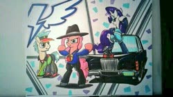 Size: 599x337 | Tagged: safe, artist:lucas_gaxiola, goldengrape, pinkie pie, rarity, sir colton vines iii, earth pony, pony, unicorn, abstract background, bipedal, car, clothes, dancing, fedora, female, fishnets, grin, hat, irl, male, mare, photo, rapper pie, smiling, stallion, traditional art